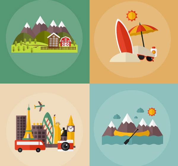 素材分类: 矢量插画所需点数: 0 点 关键词: 旅行度假插画矢量素材下