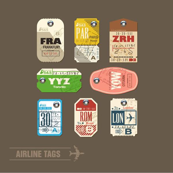 航空行李标签矢量素材下载