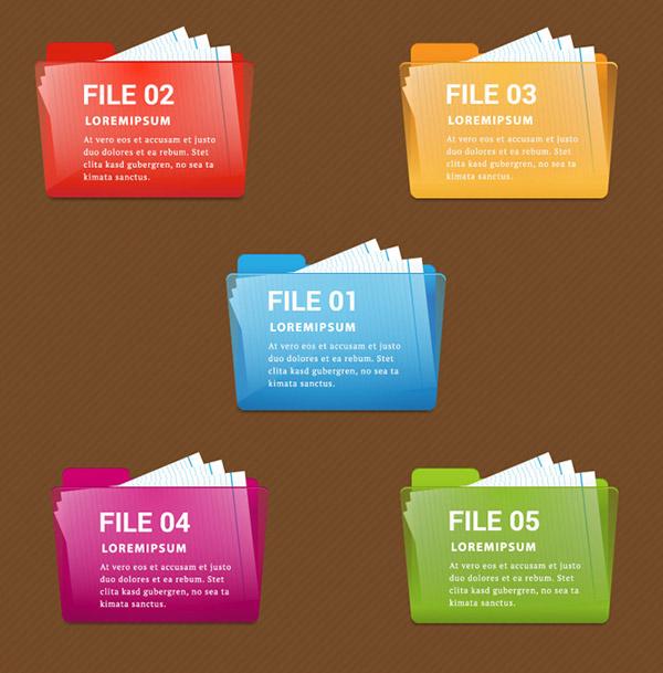 彩色文件夹图标矢量素材