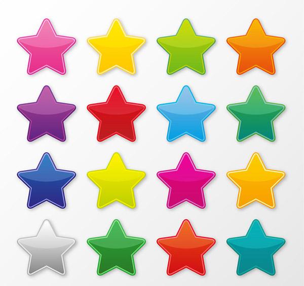 矢量各式图标所需点数: 0 点 关键词: 彩色星星矢量素材,图标,贴纸