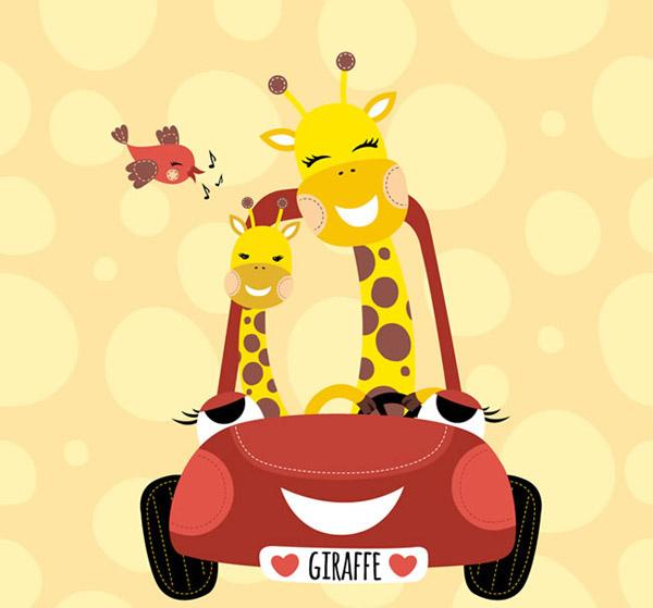 卡通长颈鹿矢量