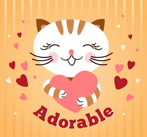 矢量卡通动物所需点数: 0 点 关键词: 卡通抱爱心的猫咪矢量素材下载