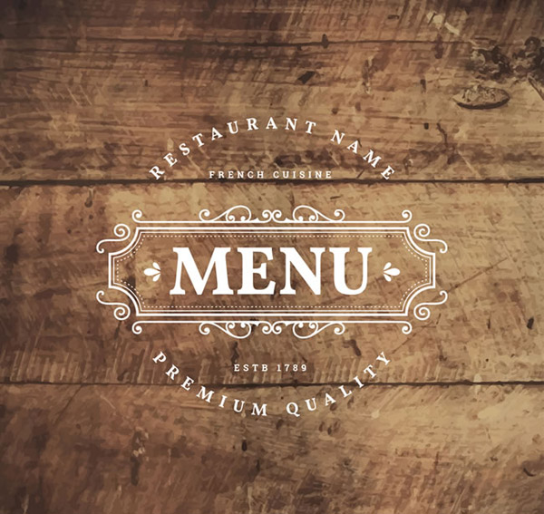 木板上的菜单标志图片