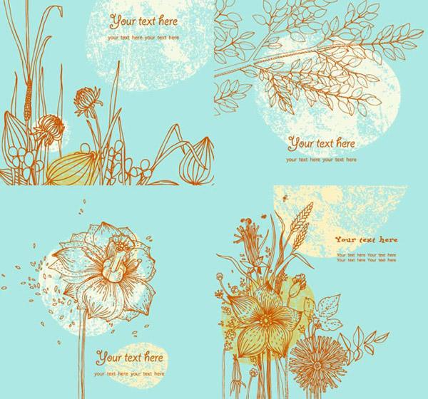 复古手绘花卉卡片矢量素材下载