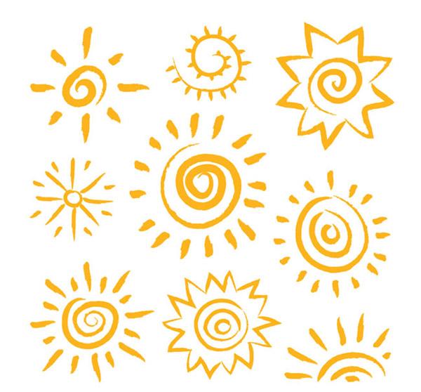 橙色手绘太阳矢量素材下载,手绘,简笔画,太阳,天气,晴,矢量图,ai格式