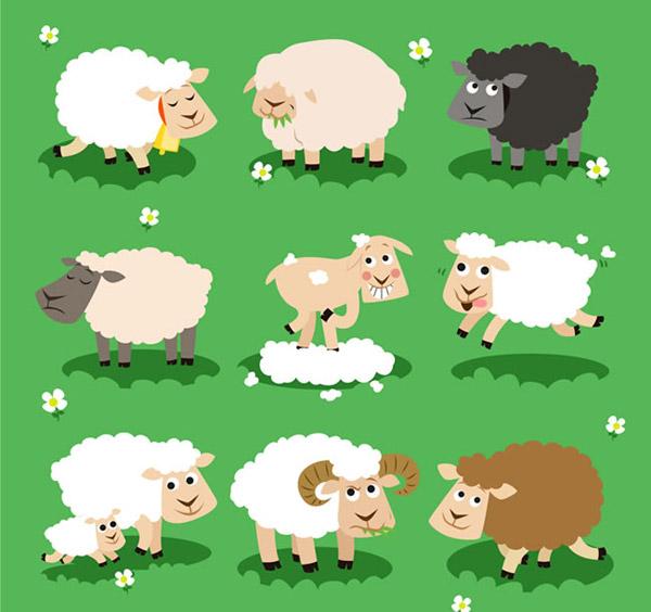 卡通绵羊矢量素材下载,牧场,草地,绵羊,剪羊毛,吃草,家畜,农场,动物