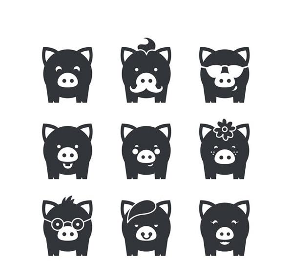 黑色小猪图标_素材中国sccnn.com