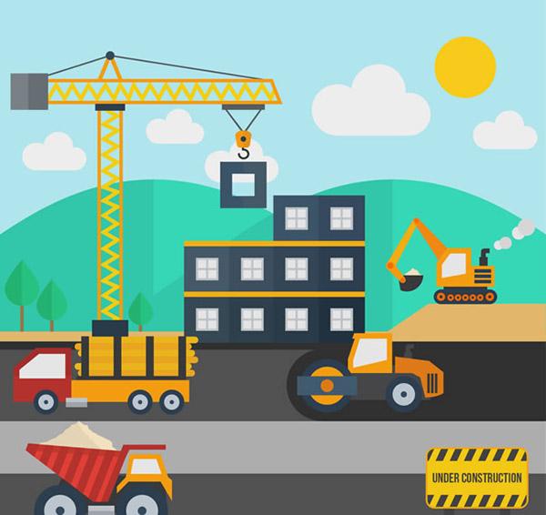 卡通建筑工地矢量素材下载,塔式起重机,铲车,挖掘机,龙门吊,塔吊,压