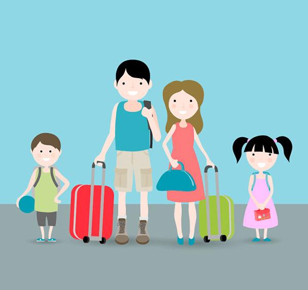 0 点 关键词: 卡通旅行四口之家矢量素材,扁平化,人物,度假,家族旅行