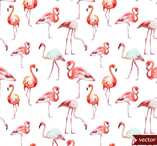 矢量野生动物所需点数: 0 点 关键词: 水彩火烈鸟无缝背景矢量素材