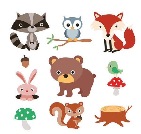 卡通森林动植物