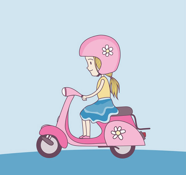 骑电动车的女生看着女孩笑我图片
