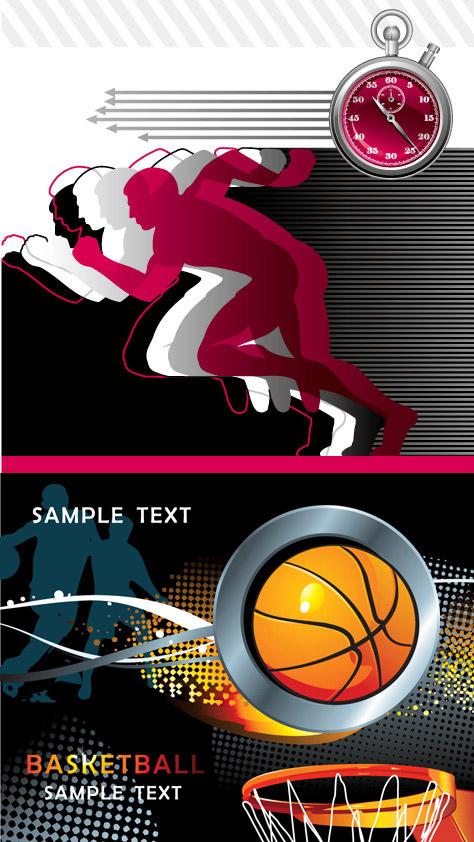 篮球运动创意广告设计矢量图下载