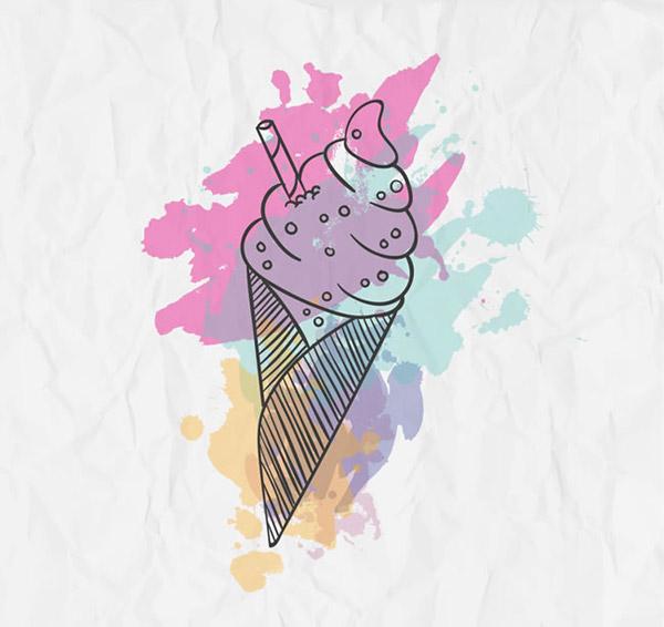 水彩冰淇淋矢量素材下载,褶皱,纸张,冰淇淋,甜筒,雪糕,夏季,矢量图