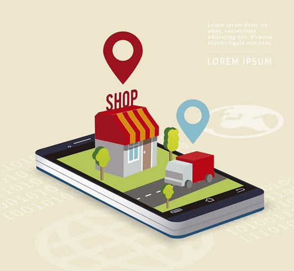 手机gps导航插画矢量素材下载