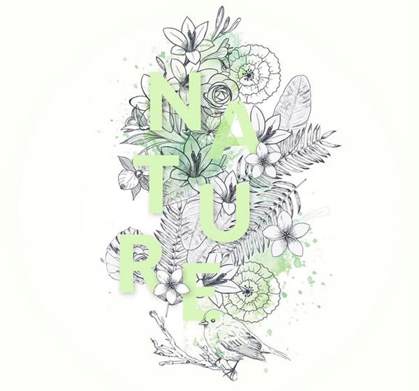 手绘自然艺术字