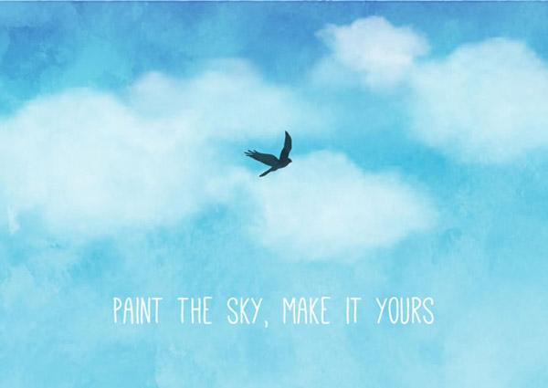 水彩蓝天与鸟