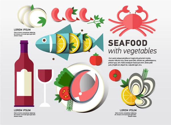 素材分类: 矢量美食所需点数: 0 点 关键词: 海鲜食品和蔬菜矢量素材