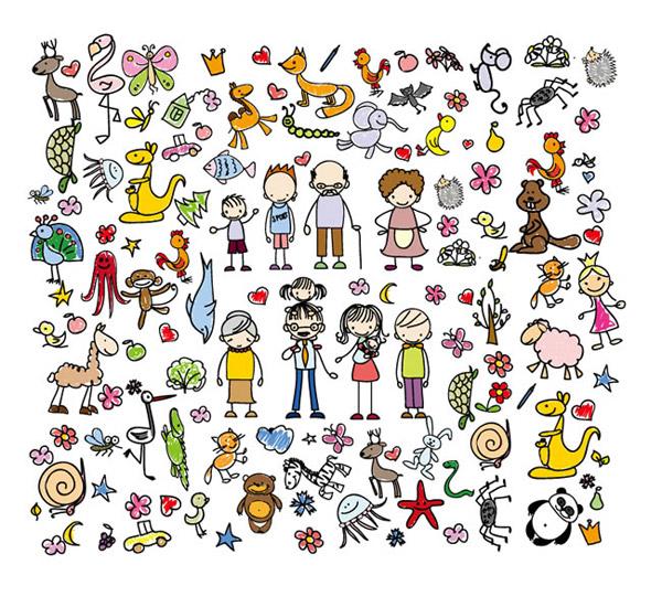 手绘人物和动植物_素材中国sccnn.com