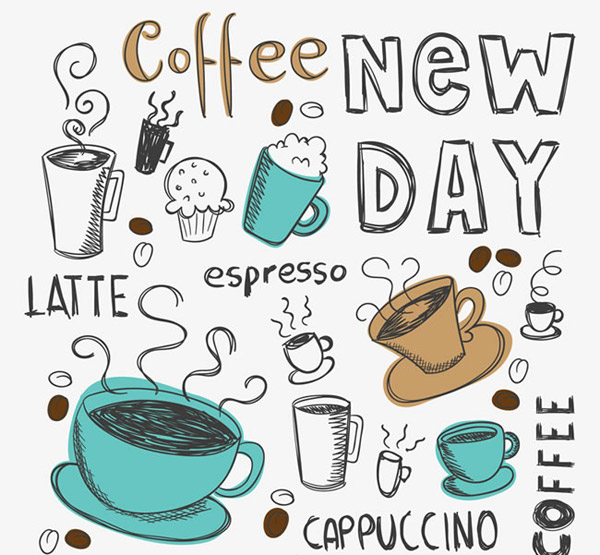 手绘咖啡元素