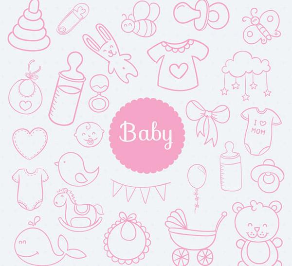 婴儿用品无缝背景_素材中国sccnn.com