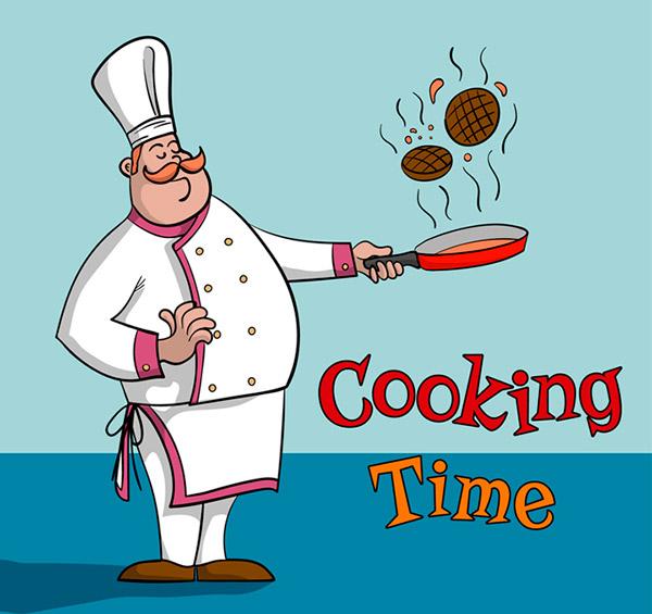 卡通烹饪中的厨师
