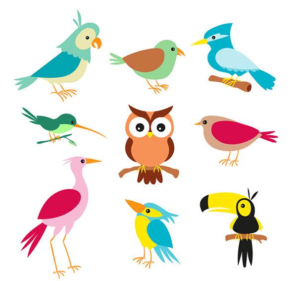 0 点 关键词: 卡通小鸟矢量素材,蜂鸟,鹦鹉,啄木鸟,猫头鹰,大嘴鸟