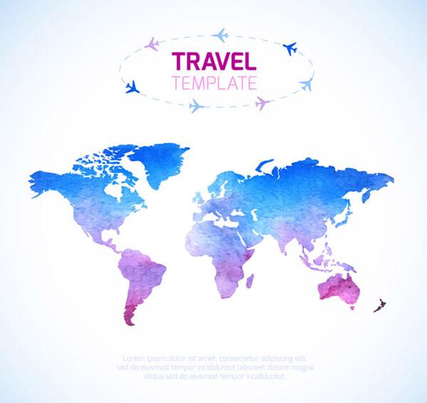 环球旅行世界地图图片