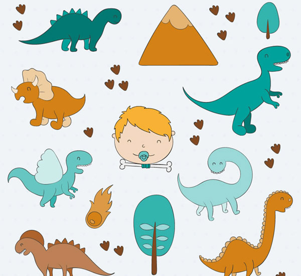 男婴头像和恐龙