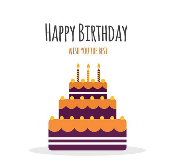 生日蛋糕贺卡矢量