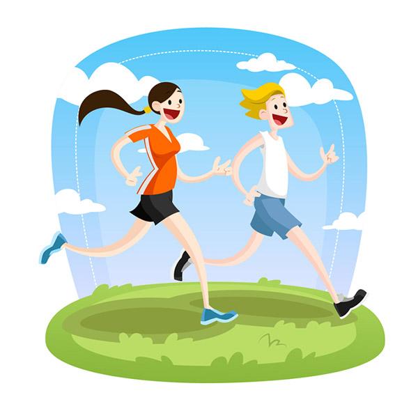 卡通跑步男女