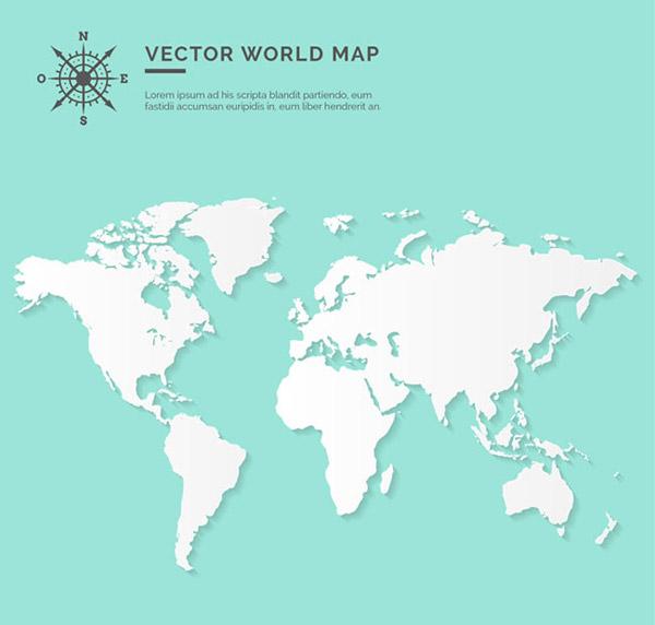 白色世界地图