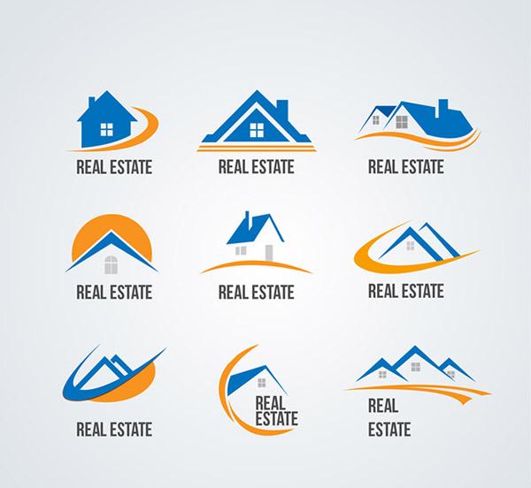 蓝色房地产标志矢量素材,房屋,太阳,房地产,标志,房屋中介,图标,logo图片