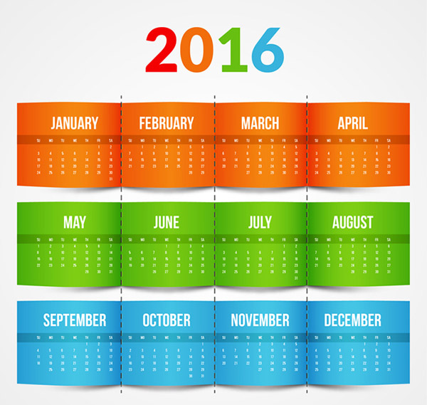 素材分类: 年历日历矢量所需点数: 0 点 关键词: 2016年彩色年历矢量