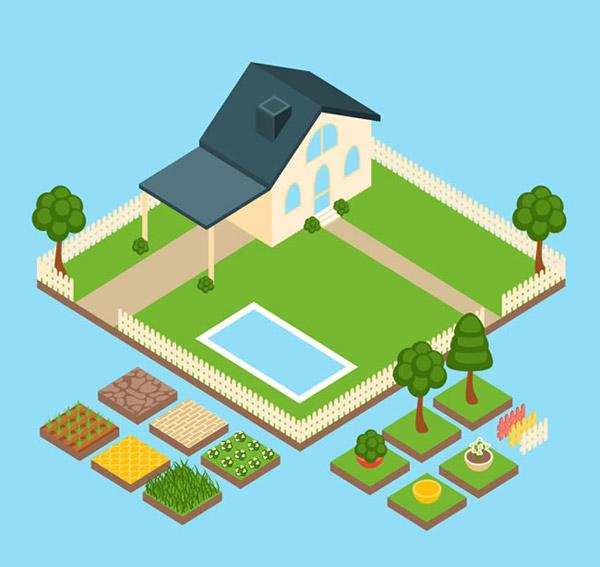 房屋菜园俯视图矢量素材下载
