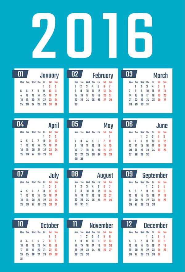 2016年日历表图片