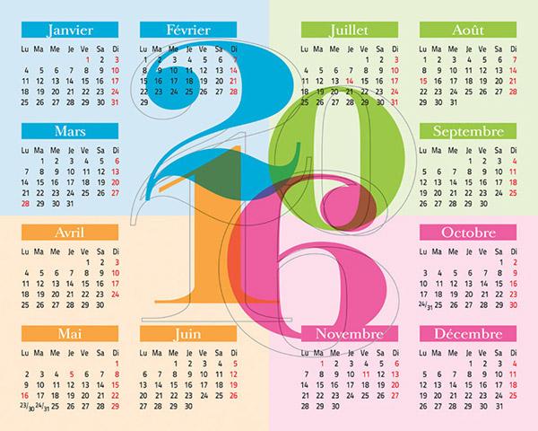 2016年日历矢量
