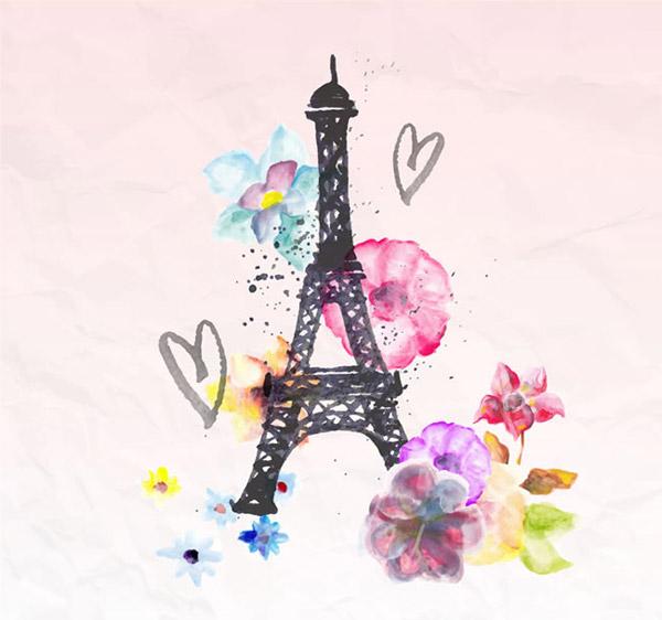 法国,浪漫,巴黎,埃菲尔铁塔,花卉,爱心,水彩,褶皱,纸张,矢量图,ai格式