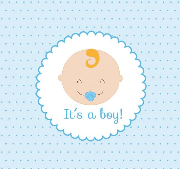 婴儿头像贺卡