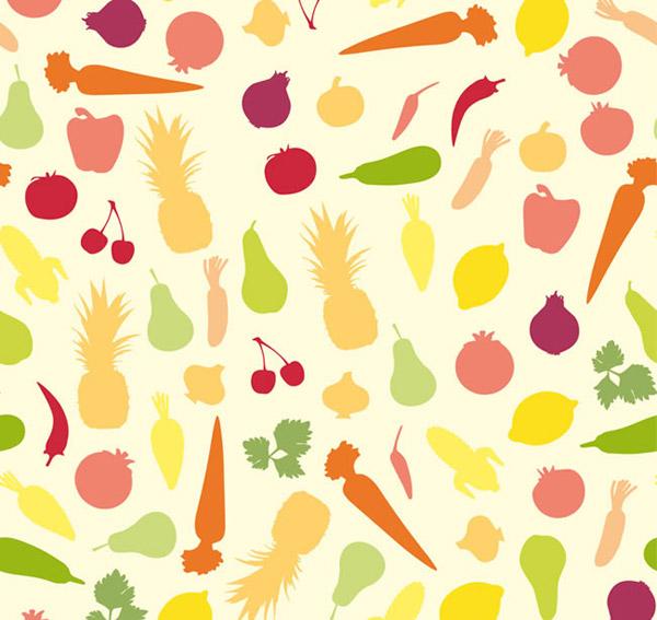 关键词: 彩色蔬菜水果无缝背景矢量素材下载,洋葱,圆葱,胡萝卜,辣椒