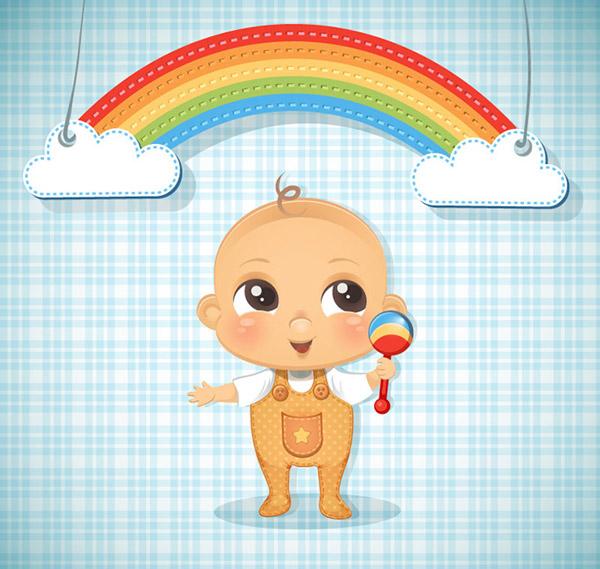 可爱婴儿和彩虹剪贴画矢量素材