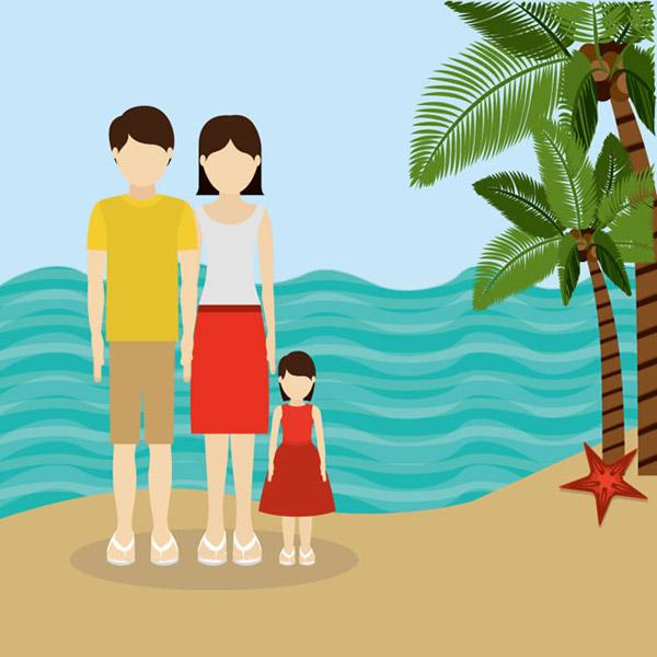 海边卡通人物风景图片