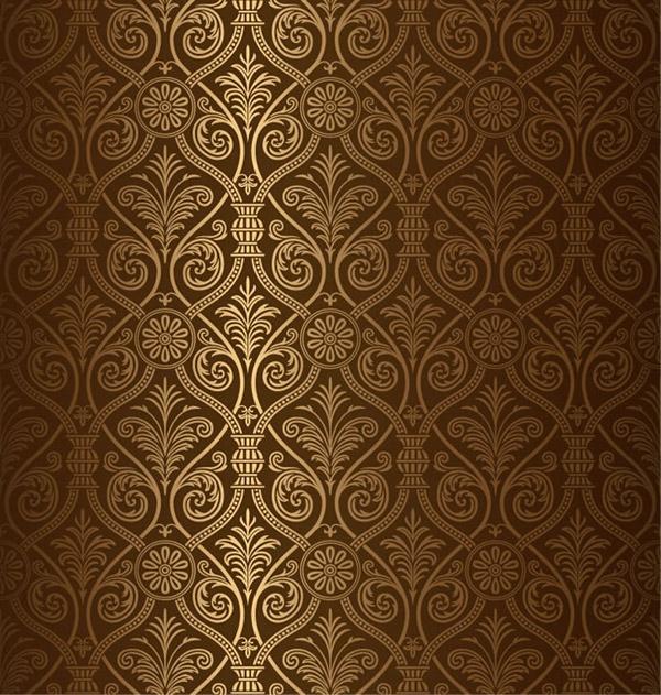 金色花纹背景矢量素材下载