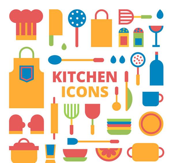 矢量餐具厨具所需点数: 0 点 关键词: 扁平厨房用品图标矢量素材下载