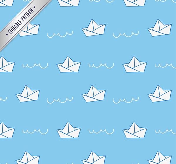 折纸船无缝背景