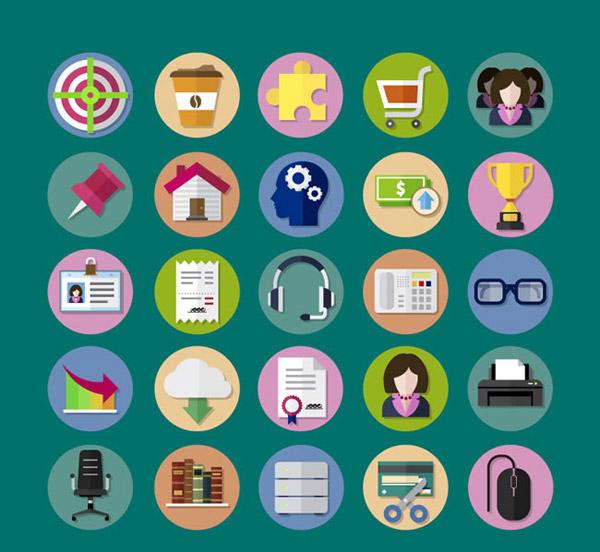 圆形商务图标矢量素材下载,箭靶,咖啡,拼图块,购物车,女子,图钉,房屋