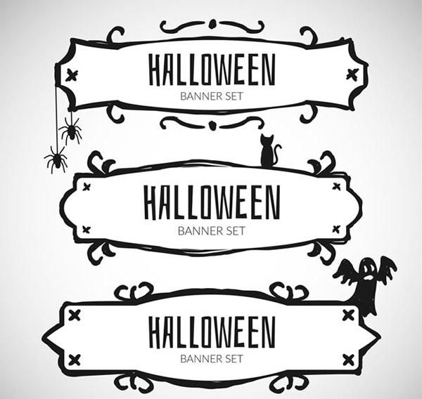 手绘万圣节banner矢量素材下载,蜘蛛网,蜘蛛,黑猫,幽灵,万圣节