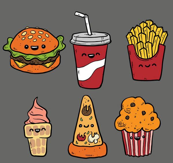 可乐简笔画-手绘快餐食品