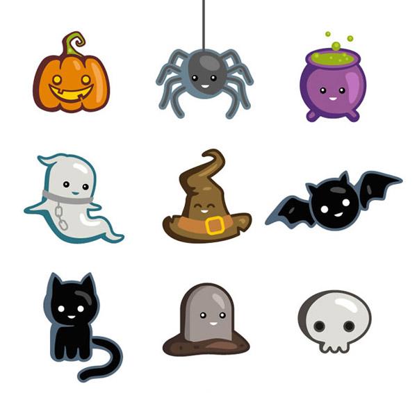南瓜灯,蜘蛛,魔法药水,幽灵,巫师帽,蝙蝠,黑猫,骷髅,墓碑,万圣节,万圣