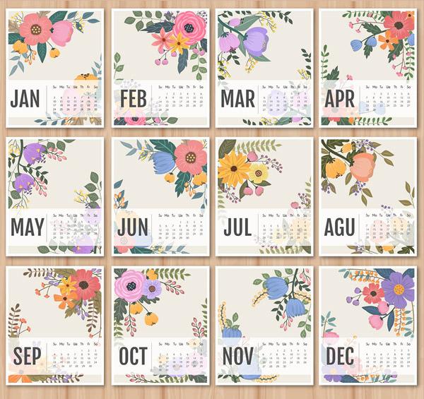 2016年花纹日历